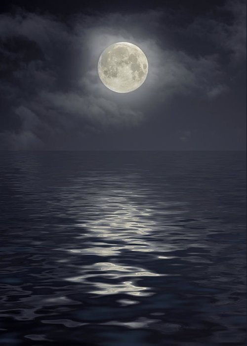Scenics Greeting Card featuring the photograph Moon Under Ocean by Andreyttl