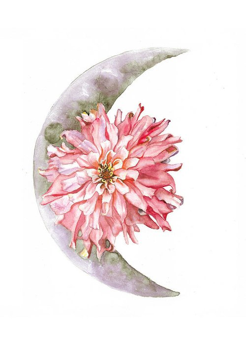 Moon Greeting Card featuring the painting Open The Gate by Brittany Bert Selfe