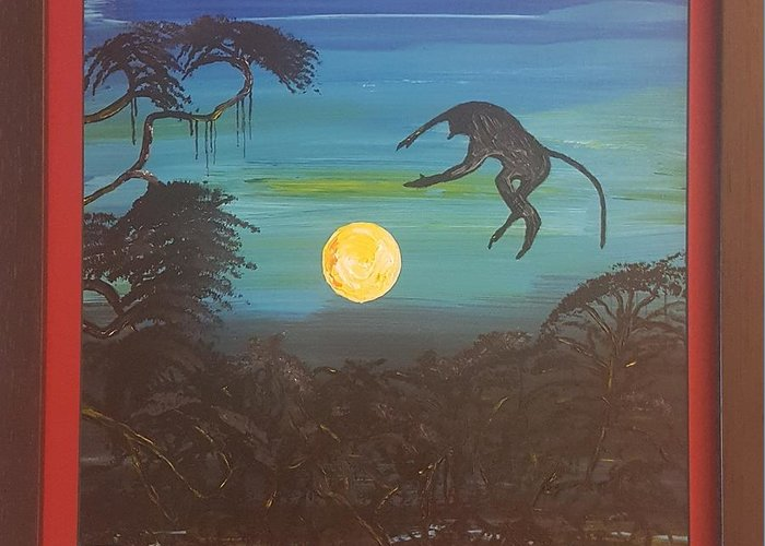 Moonlight Baboon Greeting Card featuring the photograph Moonlight Baboon by Quintus Curtius
