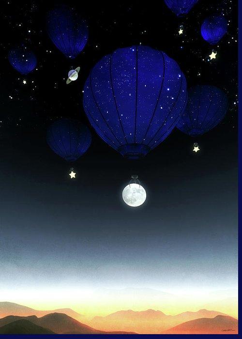 Moon Greeting Card featuring the digital art Moonrise by Cynthia Decker
