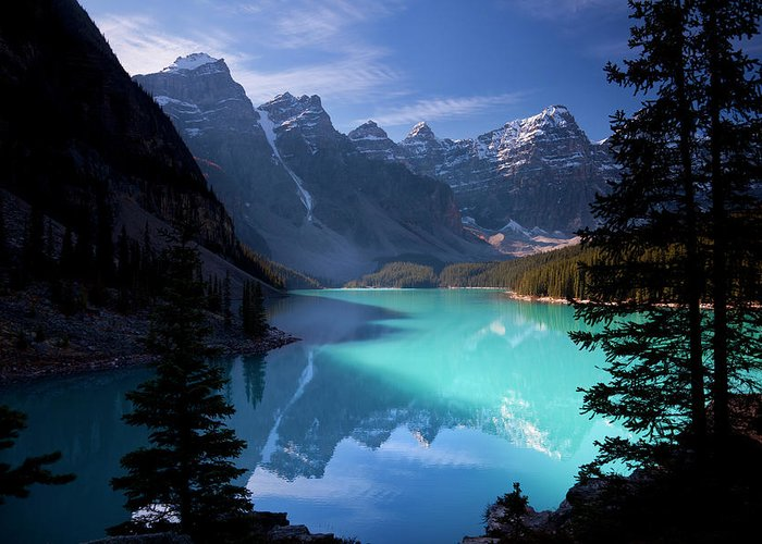 Extreme Terrain Greeting Card featuring the photograph Moraine Lake, Banff National Park by Dan prat