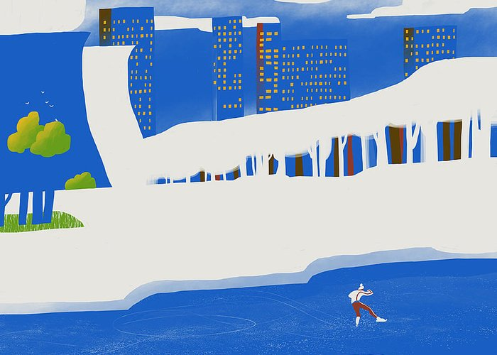 People Greeting Card featuring the digital art Moscow December by Sergey Maidukov