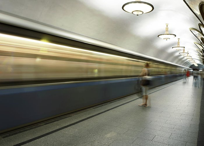 People Greeting Card featuring the photograph Moscow Metro by Fmajor