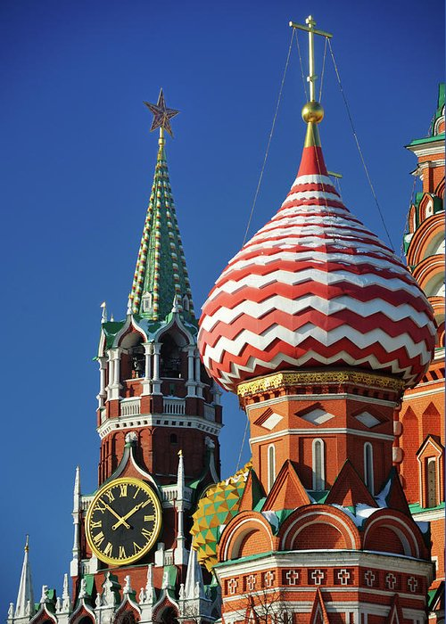 Built Structure Greeting Card featuring the photograph Moscow, Spasskaya Tower And St. Basil by Vladimir Zakharov
