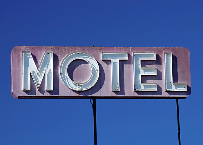 Clear Sky Greeting Card featuring the photograph Motel Sign by Eyetwist / Kevin Balluff