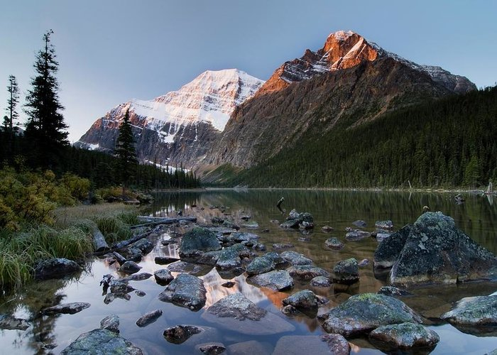 Scenics Greeting Card featuring the photograph Mount Edith Cavell And Cavell Lake by Design Pics/philippe Widling