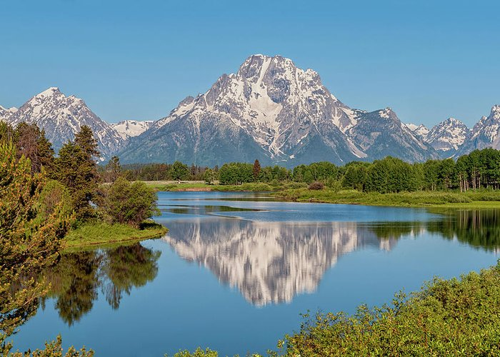 Mount Moran Greeting Card featuring the photograph Mount Moran On Snake River Landscape by Brian Harig