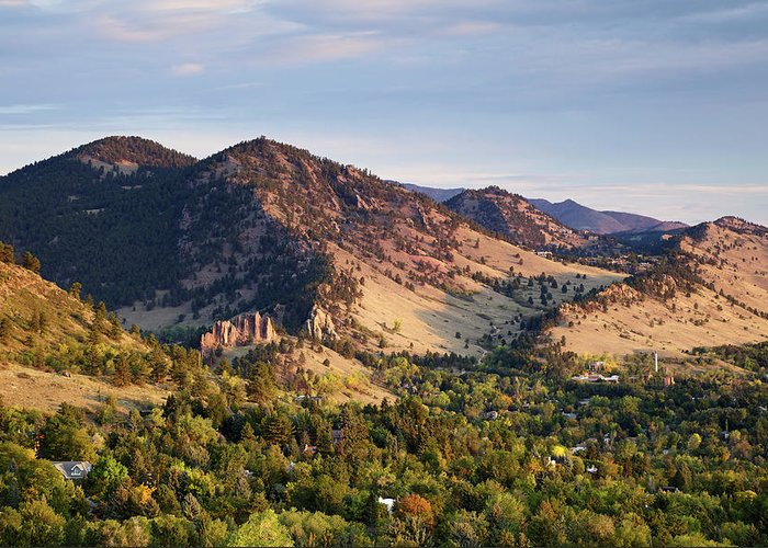 Scenics Greeting Card featuring the photograph Mount Sanitas And Fall Colors In by Beklaus