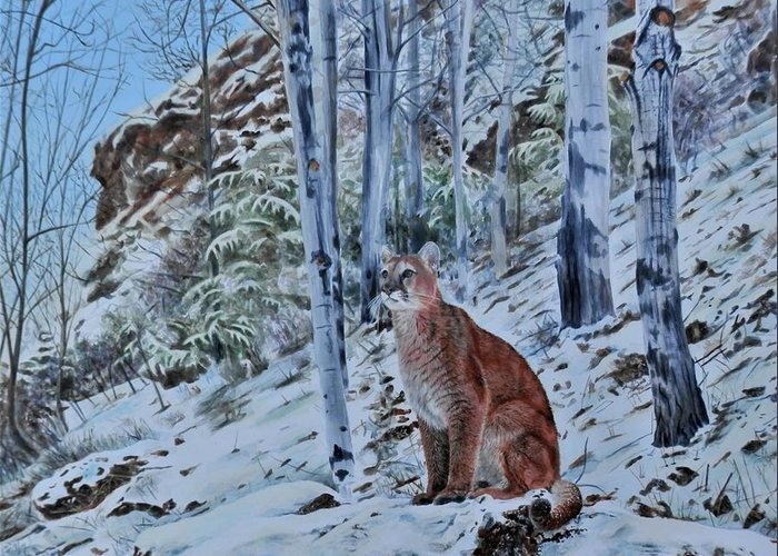 Mountain Lion Greeting Card featuring the painting Mountain Lion by John Neeve