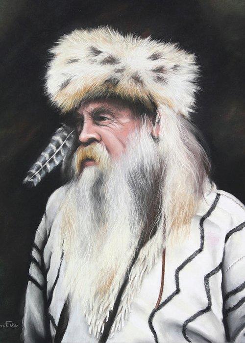 Mountain Man Greeting Card featuring the pastel Mountain Man by Karen Elkan