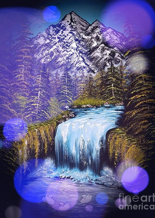 Blue Greeting Card featuring the painting Mountain Views So Beautiful Blue Stardust Dark by Angela Whitehouse