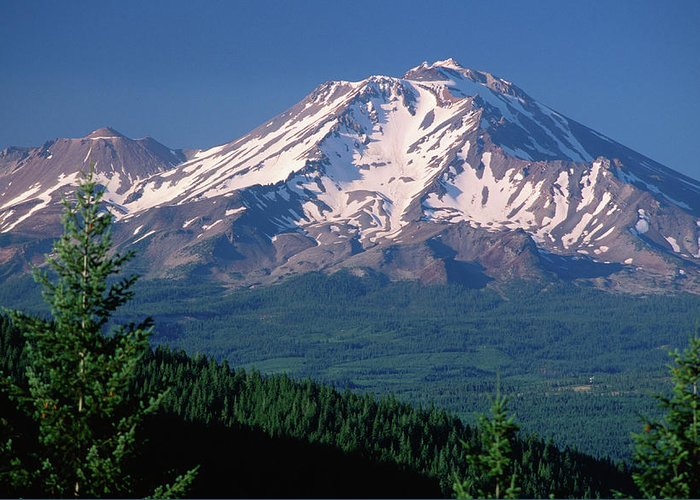 Toughness Greeting Card featuring the photograph Mt Shasta Across Lake Siskiyou, Mt by John Elk Iii