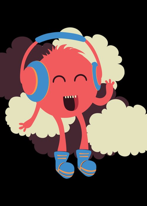 Colorful Greeting Card featuring the digital art Music Loving Monster In The Clouds by Passion Loft