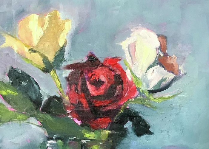 Roses Greeting Card featuring the painting My Heart by Karen Jordan