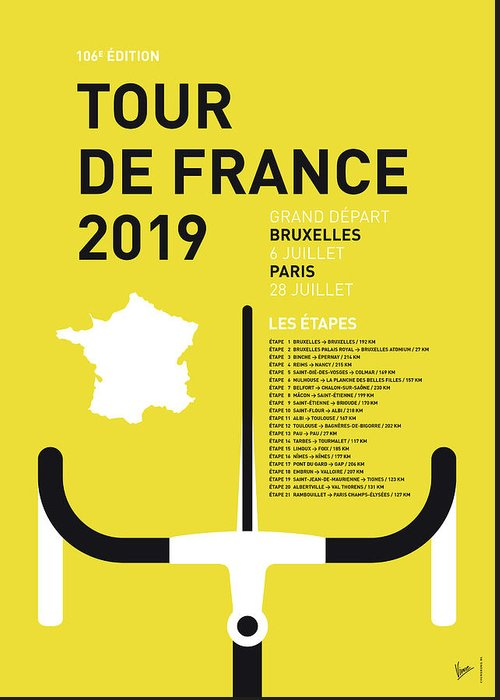 2019 Greeting Card featuring the digital art My Tour De France Minimal Poster 2019 by Chungkong Art