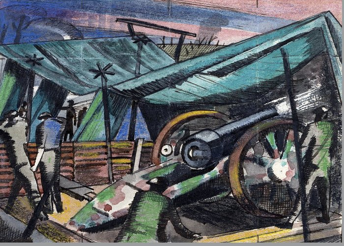 B1019 Greeting Card featuring the painting A Howitzer Firing, 1918 by Paul Nash