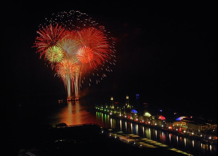 Firework Display Greeting Card featuring the photograph Navy Pier Fireworks by Image By Douglas R. Siefken