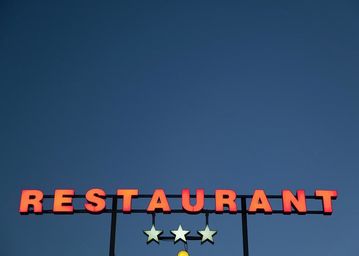 Temptation Greeting Card featuring the photograph Neon 3 Star Restaurant Sign by Henglein And Steets