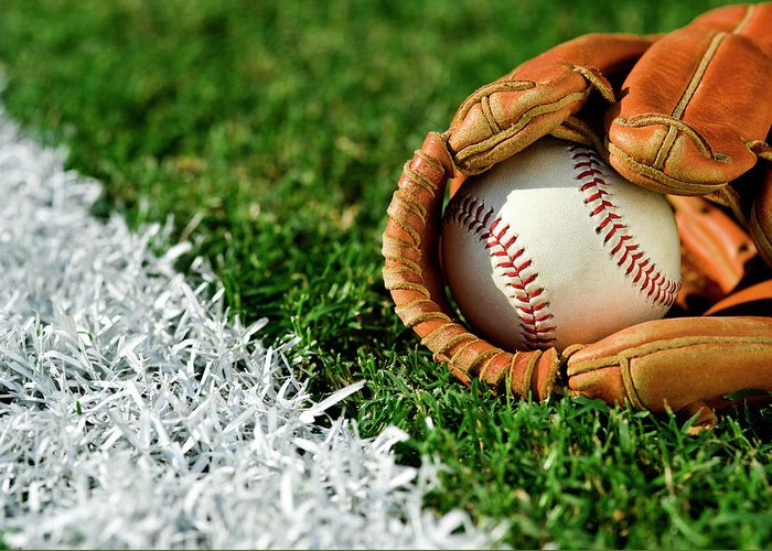 Grass Greeting Card featuring the photograph New Baseball In Glove Along Foul Line by Cmannphoto