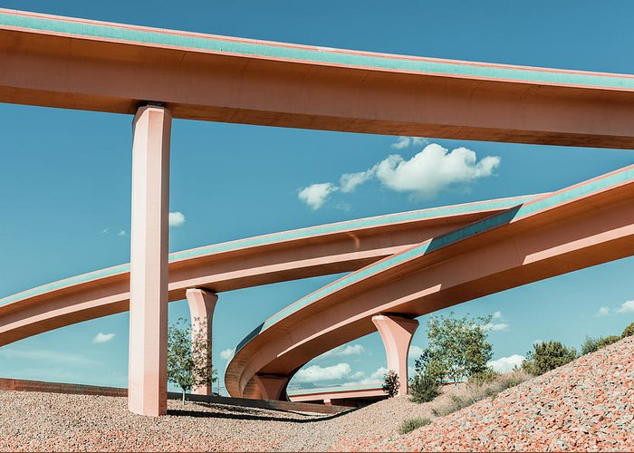 Autobahn Greeting Card featuring the photograph New Mexico Albuquerque Interstate by Mlenny