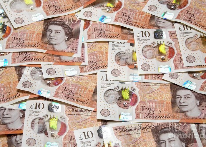 Nobody Greeting Card featuring the photograph New Ten Pound Notes by Victor De Schwanberg/science Photo Library