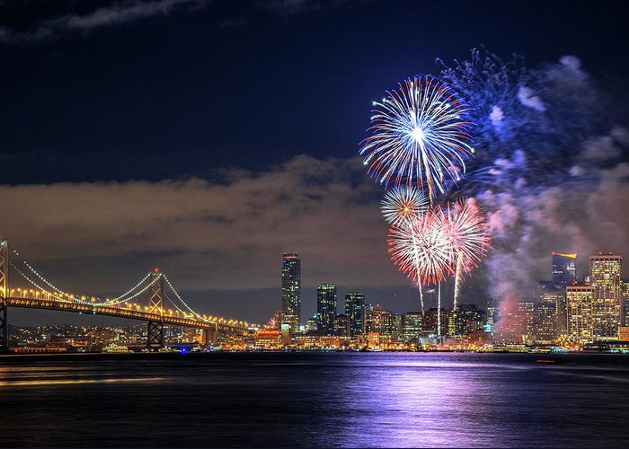 Firework Display Greeting Card featuring the photograph New Year Fireworks by Piriya Photography