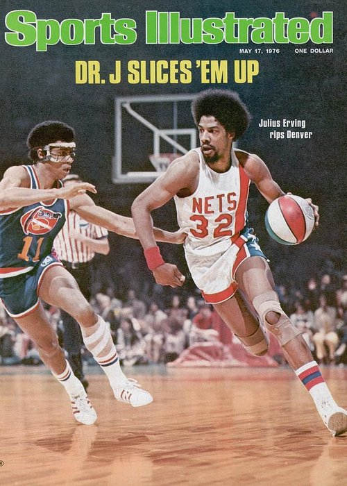 Julius Erving Greeting Card featuring the photograph New York Nets Julius Erving, 1976 Aba Championship Sports Illustrated Cover by Sports Illustrated