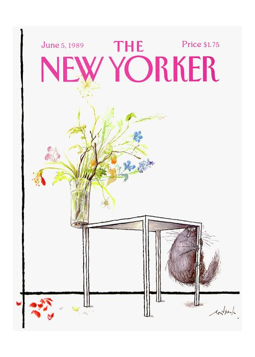 Animal Greeting Card featuring the drawing New Yorker Cover June 5 1989 by Ronald Searle