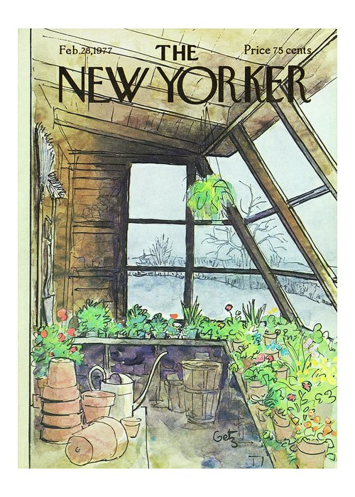 Illustration Greeting Card featuring the painting New Yorker February 28th 1977 by Arthur Getz