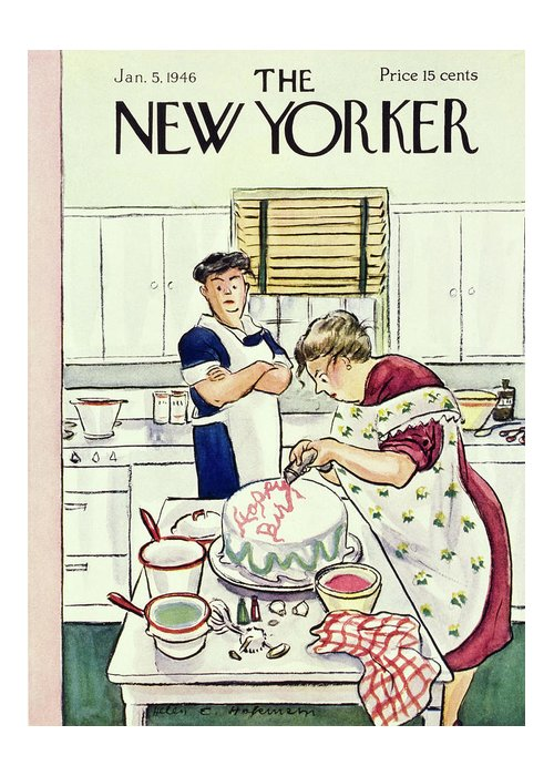 Food Greeting Card featuring the painting New Yorker January 5 1946 by Helene E Hokinson