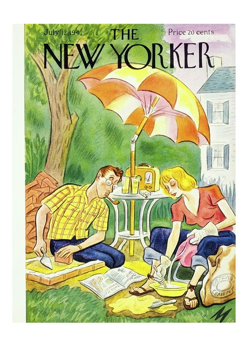 Illustration Greeting Card featuring the painting New Yorker July 12th 1947 by Julian De Miskey
