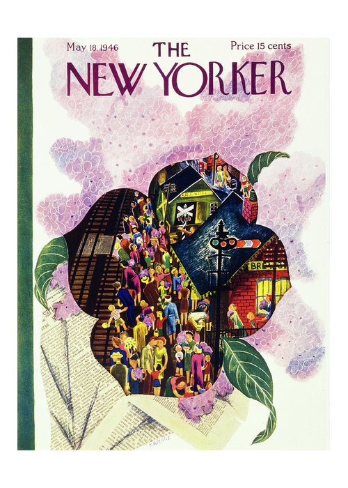 Illustration Greeting Card featuring the painting New Yorker May 18 1946 by Ilonka Karasz