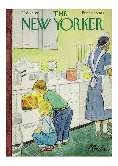 Perry Barlow Pba Greeting Card featuring the painting New Yorker November 24, 1951 by Perry Barlow