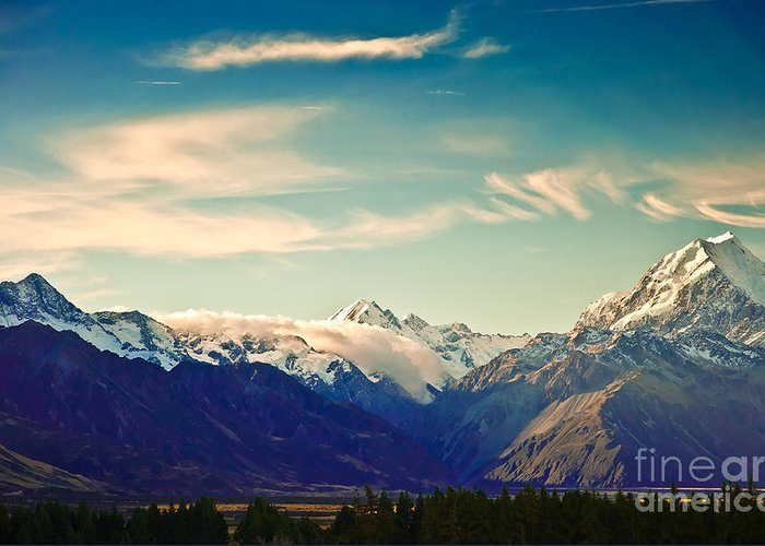 Alps Greeting Card featuring the photograph New Zealand Scenic Mountain Landscape by Naughtynut