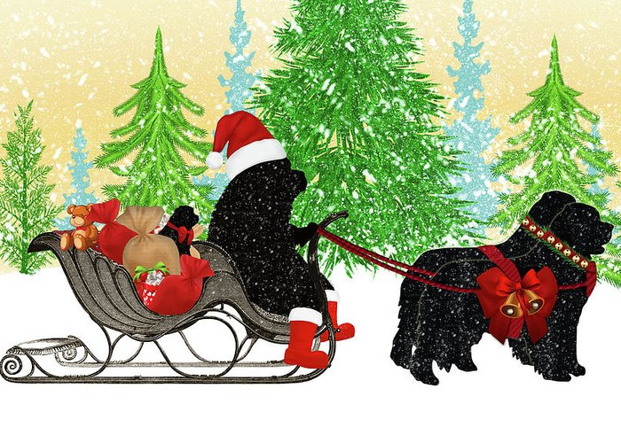 Newfoundland Dog Greeting Card featuring the digital art Newfoundland Dog Christmas Card by Christine Mullis