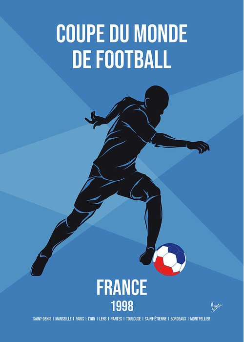 World Greeting Card featuring the digital art No16 My 1998 France Soccer World Cup Poster by Chungkong Art