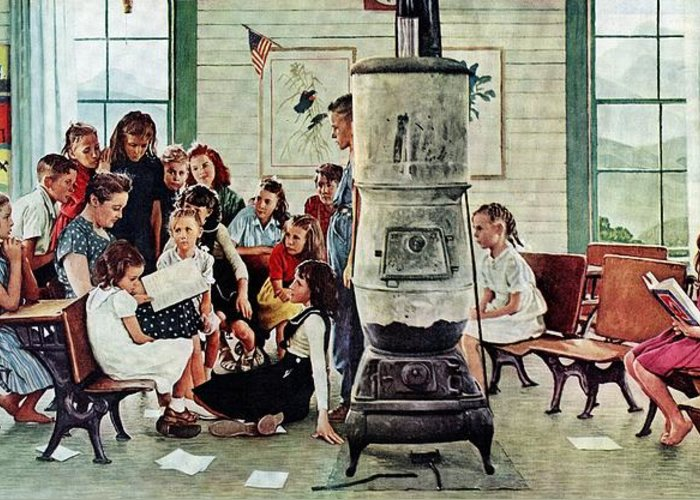 Book Greeting Card featuring the drawing Norman Rockwell Visits A Country School by Norman Rockwell