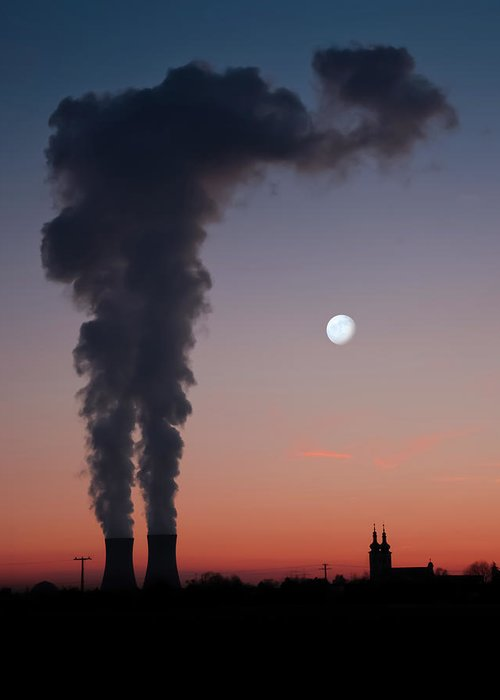 Air Pollution Greeting Card featuring the photograph Nuclear Power Station In Bavaria by Michael Kohaupt