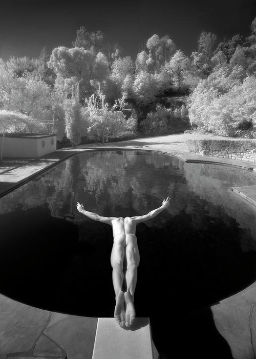 Diving Into Water Greeting Card featuring the photograph Nude Male Diving Into Dark Poolicarus by Ed Freeman