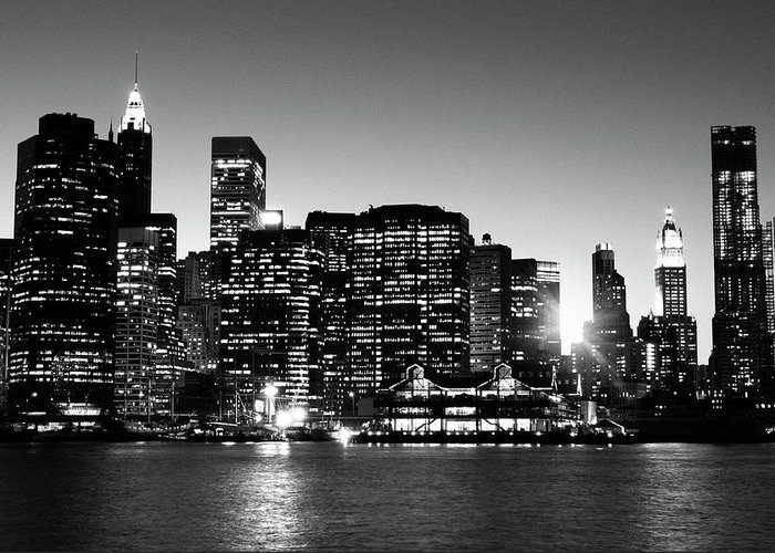 Lower Manhattan Greeting Card featuring the photograph Nyc Skyline At Sunset by Lisa-blue