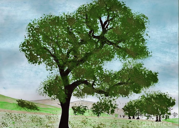 Trees Greeting Card featuring the drawing Oak Tree Landscape by D Hackett