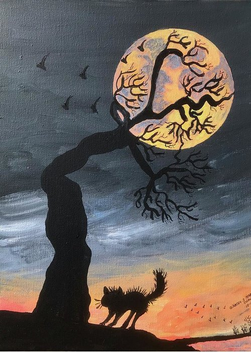 Hunters Moon Greeting Card featuring the painting October Hunters Moon by Kathy Marrs Chandler