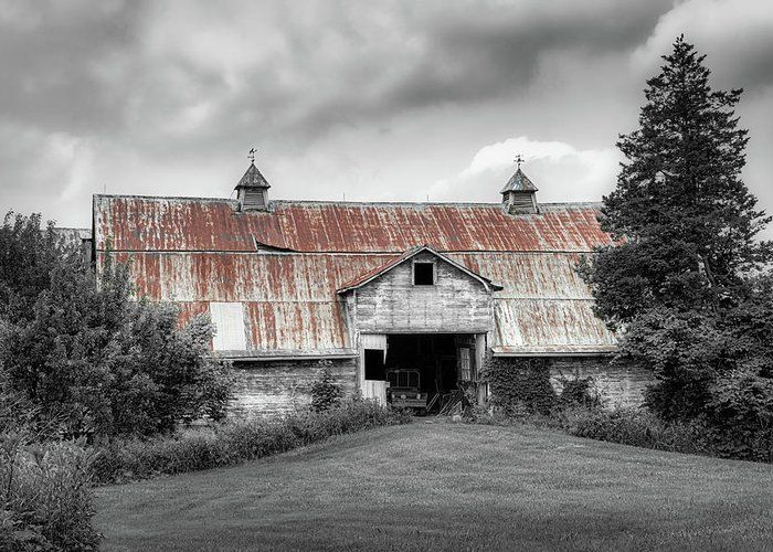 Ohio Greeting Card featuring the photograph Ohio Barn In Black And White by Tom Mc Nemar