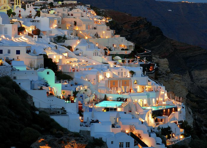 Tranquility Greeting Card featuring the photograph Oia, Santorini Greece At Night by Marcel Germain