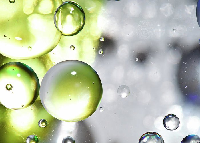 Mixing Greeting Card featuring the photograph Oil Spheres by Dovate