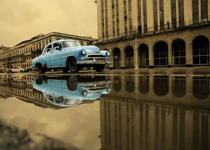 Arch Greeting Card featuring the photograph Old Blue Car In Havana by 1001nights