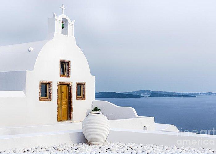 Cyclades Greeting Card featuring the photograph Old Church In Santorini Island, Greece by Svetlana Ryajentseva