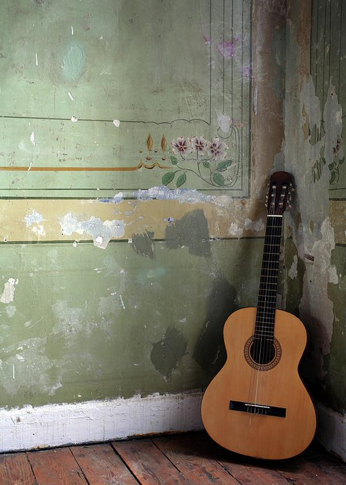 Music Greeting Card featuring the photograph Old Guitar by Kursad
