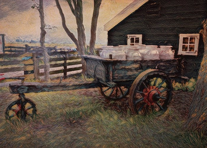 Old Greeting Card featuring the photograph Old Milk Wagon by Maria Angelica Maira