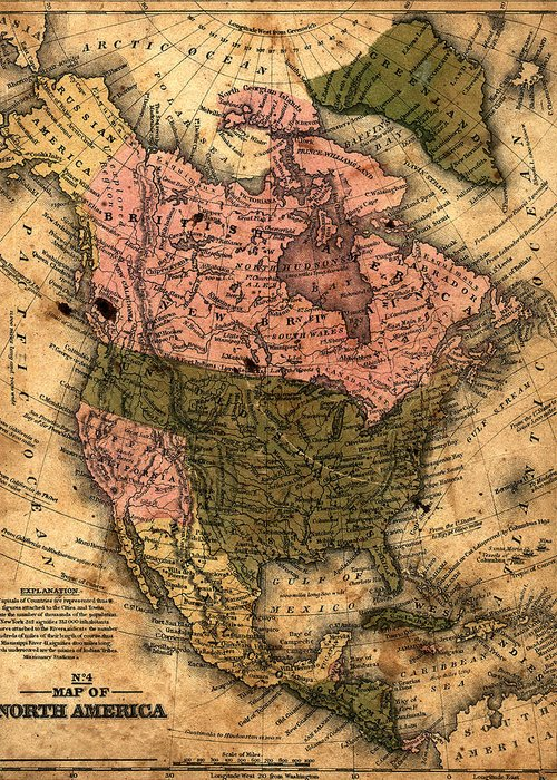 Outdoors Greeting Card featuring the photograph Old North America Map by Belterz